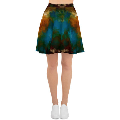 POEFASHION® DESIGN Royston Golden Glow Matrix 1 Skater Skirt