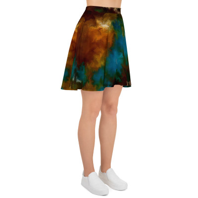POEFASHION® DESIGN Royston Golden Glow Matrix 1 Skater Skirt