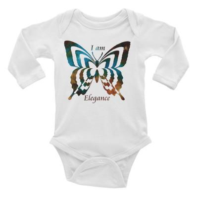 POEFASHION® Baby Long Sleeve Butterfly Royston Golden Glow Turquoise Bodysuit
