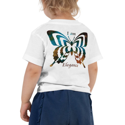 POEFASHION® Toddler Butterfly Short Sleeve Tee Royston Golden Glow Turquoise