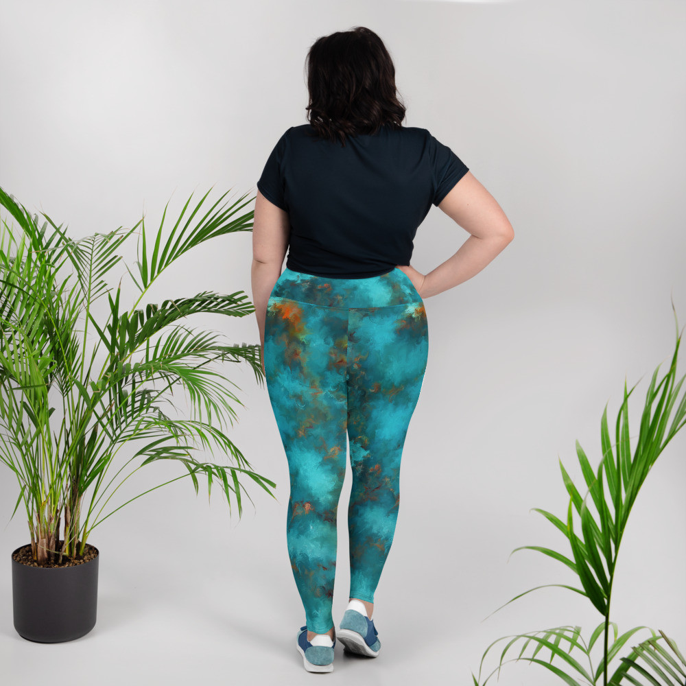 POEFASHION® DESIGNS Plus Size Leggings - Royston Blue Copper
