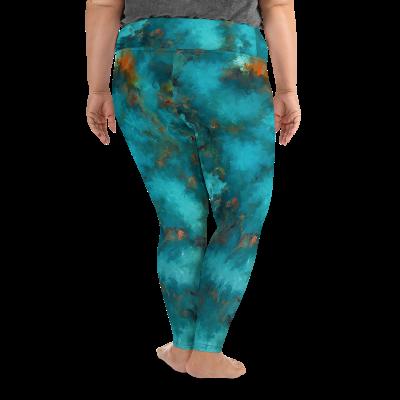 POEFASHION® DESIGNS Plus Size Leggings - Royston Blue Copper