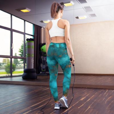 POEFASHION® DESIGNS Regular Fit Royston Blue Copper Yoga Leggings
