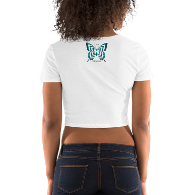 POEFASHION® Royston Blue Copper Butterfly Women's Crop Tee
