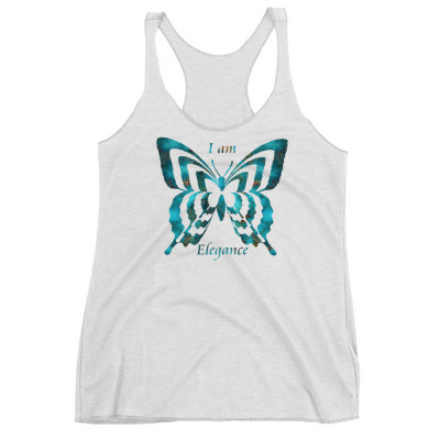 POEFASHION® Royston Blue Copper Butterfly Women's Racerback Tank