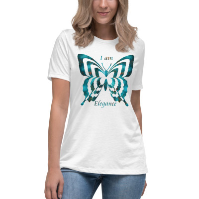 POEFASHION® Royston Blue Copper Butterfly Women's Relaxed T-Shirt