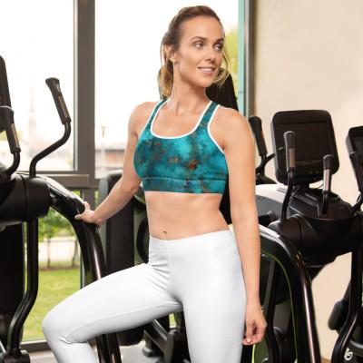 POEFASHION® Royston Blue Copper Turquoise Sports bra - Not padded