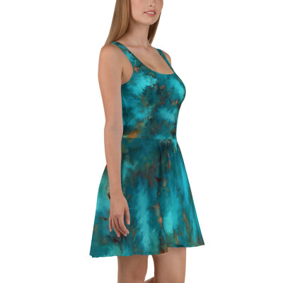 POEFASHION® Royston Blue Copper Turquoise Skater Dress