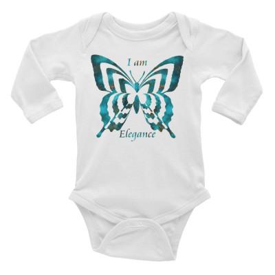 POEFASHION® Royston Blue Copper Butterfly Infant Long Sleeve Bodysuit