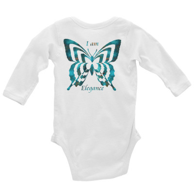 POEFASHION® Royston Blue Copper Butterfly Infant Long Sleeve Bodysuit