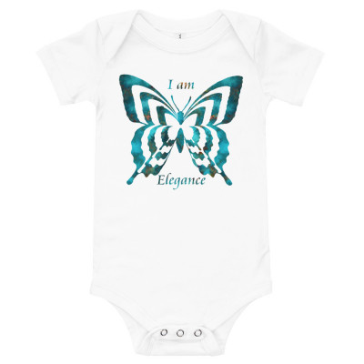 POEFASHION® Royston Blue Copper Butterfly Short Sleeve Baby T-Shirt