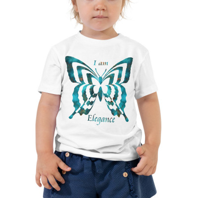 POEFASHION® Royston Blue Copper Butterfly Toddler Short Sleeve Tee