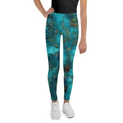 POEFASHION® Royston Blue Copper Turquoise Youth Leggings