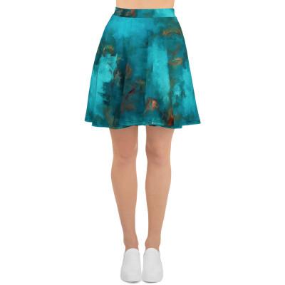 POEFASHION® Royston Blue Copper Turquoise Skater Skirt