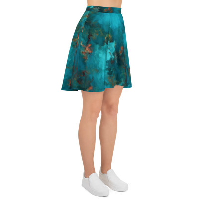 POEFASHION® Royston Blue Copper Turquoise Skater Skirt