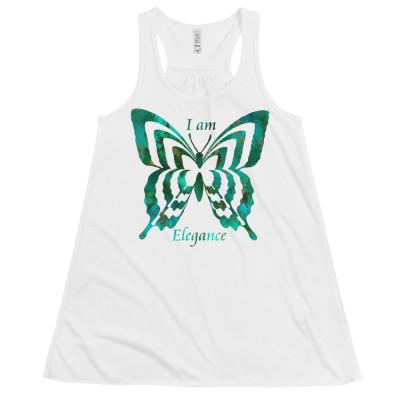 POEFASHION® Royston Pristine Turquoise Butterfly Women's Flowy Racerback Tank