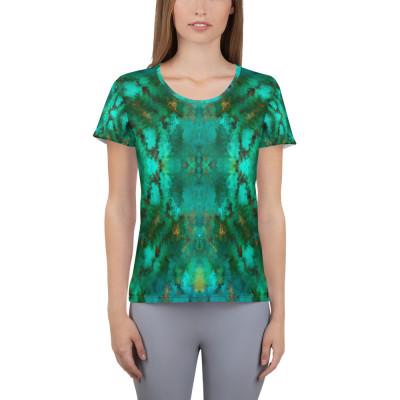 POEFASHION® Royston Pristine Turquoise Women's Athletic T-shirt 2