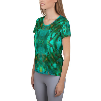 POEFASHION® Royston Pristine Turquoise Women's Athletic T-shirt 2