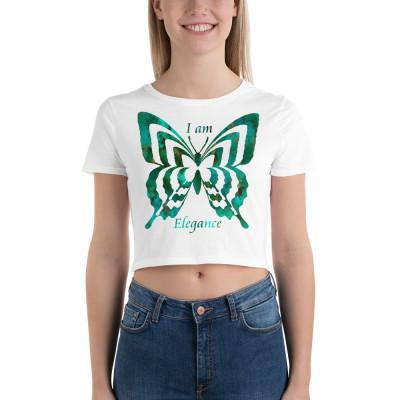 POEFASHION® Royston Pristine Turquoise Butterfly Women's Crop Tee