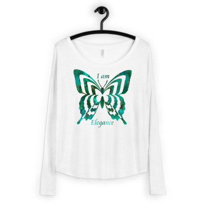 POEFASHION® Royston Pristine Turquoise Butterfly Ladies' Long Sleeve Tee