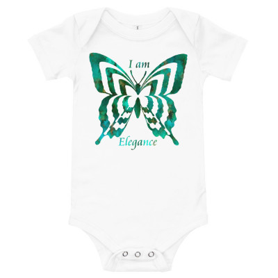 POEFASHION® Royston Pristine Turquoise Butterfly Baby T-Shirt