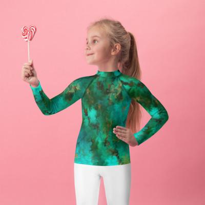 POEFASHION® Royston Pristine Turquoise Little Kids Rash Guard