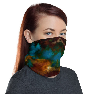 POEFASHION® Royston Golden Glow Turquoise 2 Neck gaiter