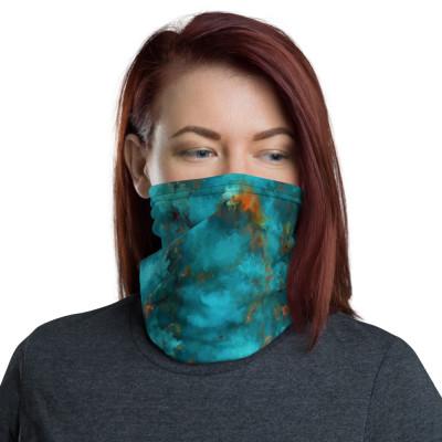 POEFASHION® Royston Blue Copper Turquoise Neck gaiter