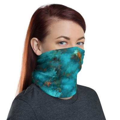 POEFASHION® Royston Blue Copper Turquoise Neck gaiter