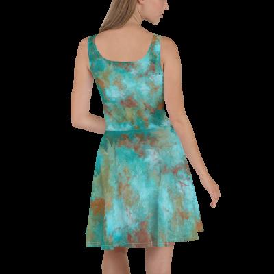 POEFASION® Desert Blossom Turquoise Skater Dress