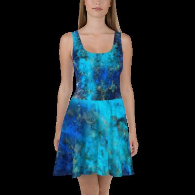 POEFASHION® Apache Deep Blue Turquoise Skater Dress