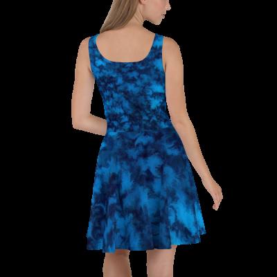 POEFASHION® Cloud Mountain Turquoise Blue Skater Dress
