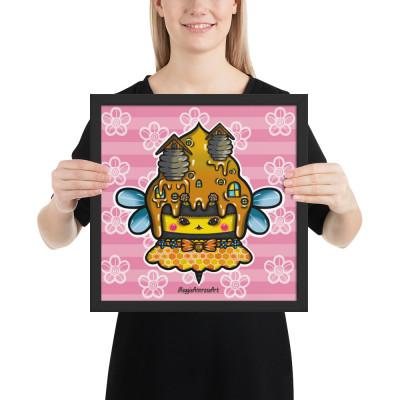 Cute Bee Cupcake - Framed Poster