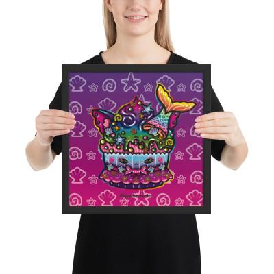 Mermaid Cat Cupcake - Framed Poster
