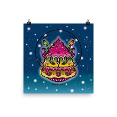 Alien Cat Cupcake - Poster