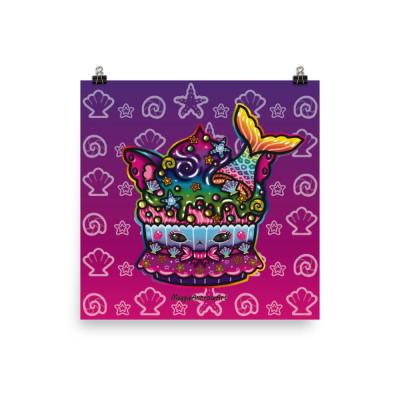 Mermaid Cat Cupcake - Poster