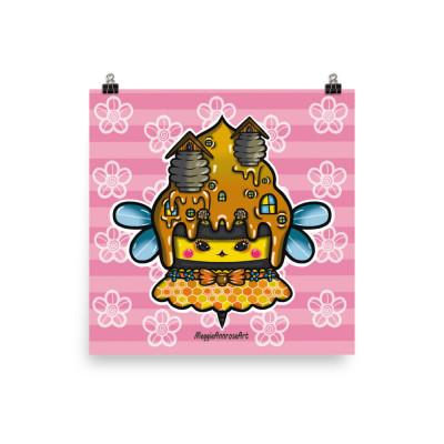 Cute Bee Cupcake - Poster