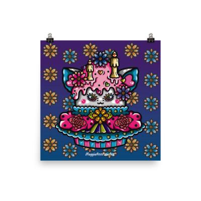 Sugar Skull Cat Cupcake - Poster