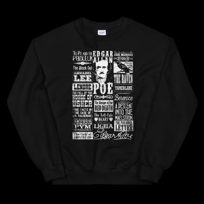 Edgar Allan Poe Sweatshirt Books Stories Poems Quotes