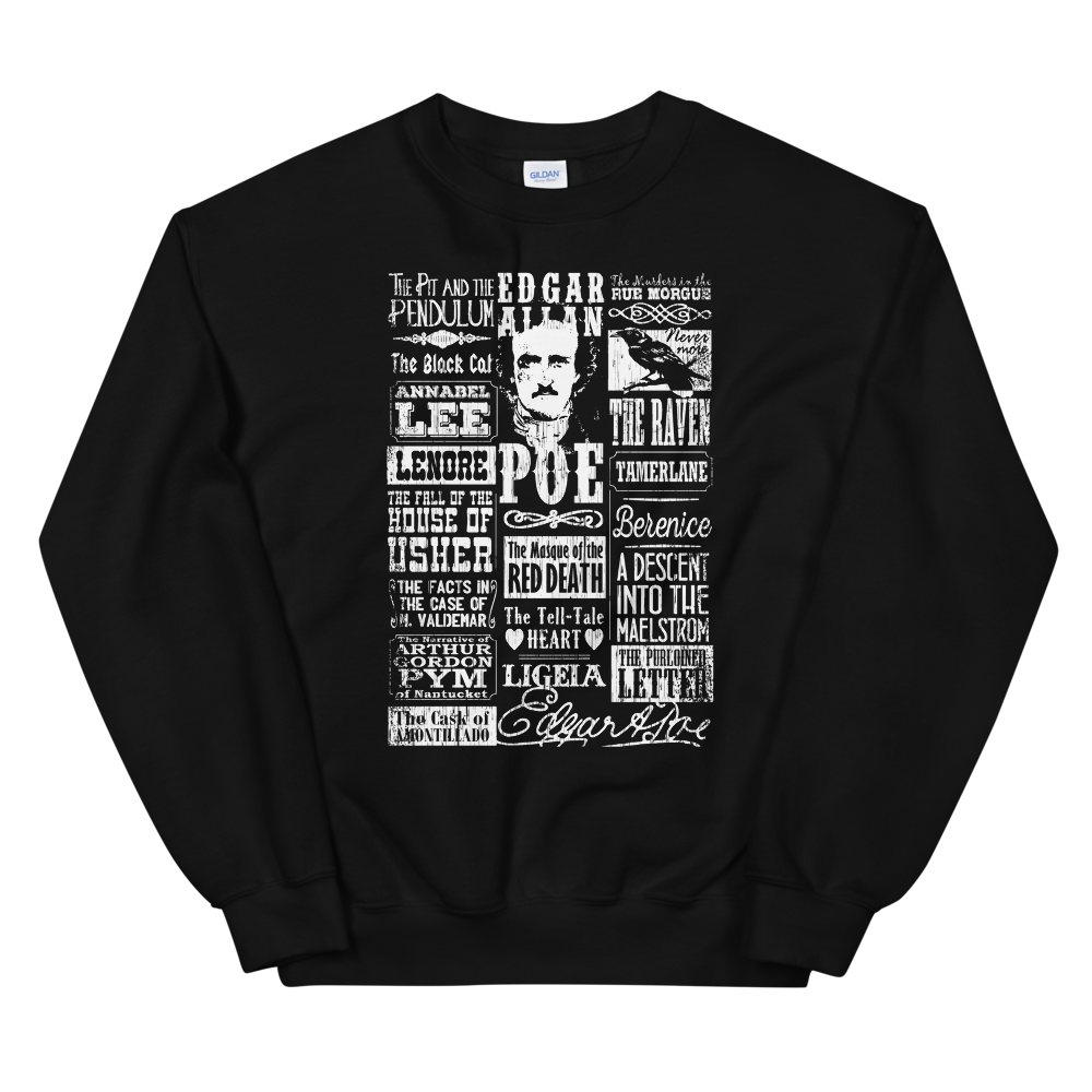 Edgar Allan Poe Sweatshirt Books Stories Poems Quotes