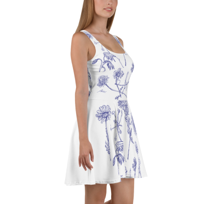 Purple Wildflowers - White Skater Dress