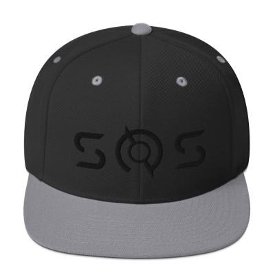 Snapback 3D SOS Hat (raised black logo)