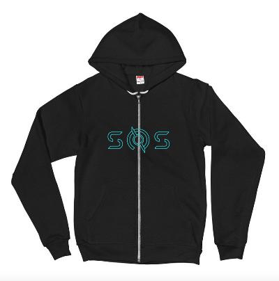 Blue TRON SOS Logo Zip Up Hoodie by American Apparel