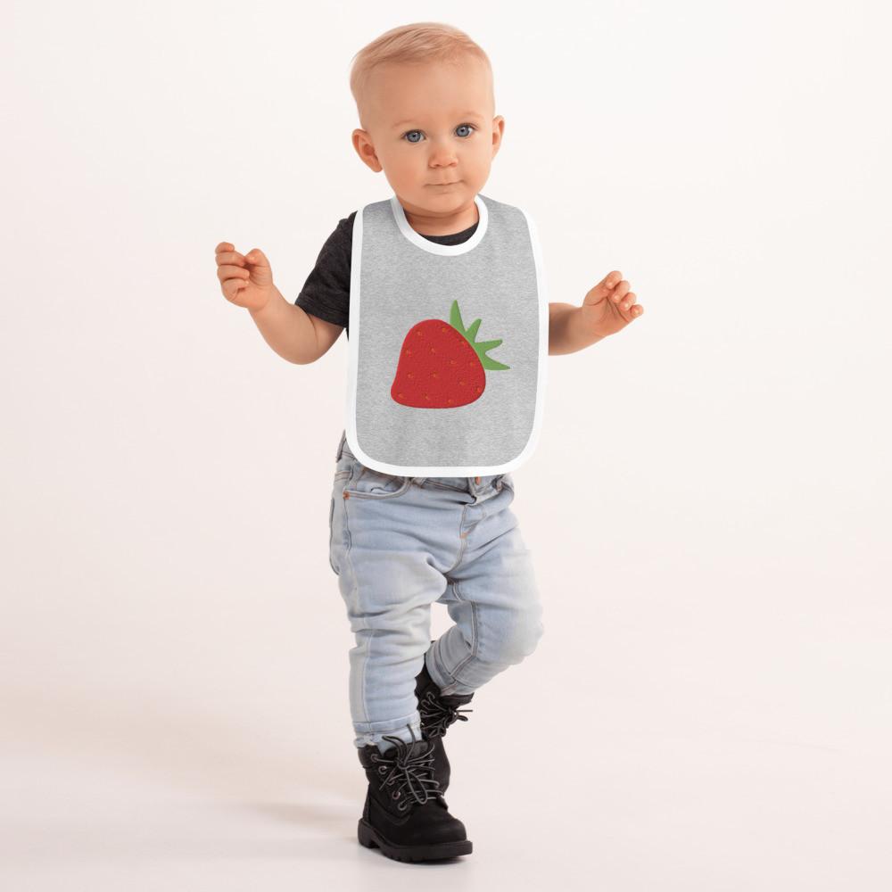 Strawberry Embroidered Baby Bib