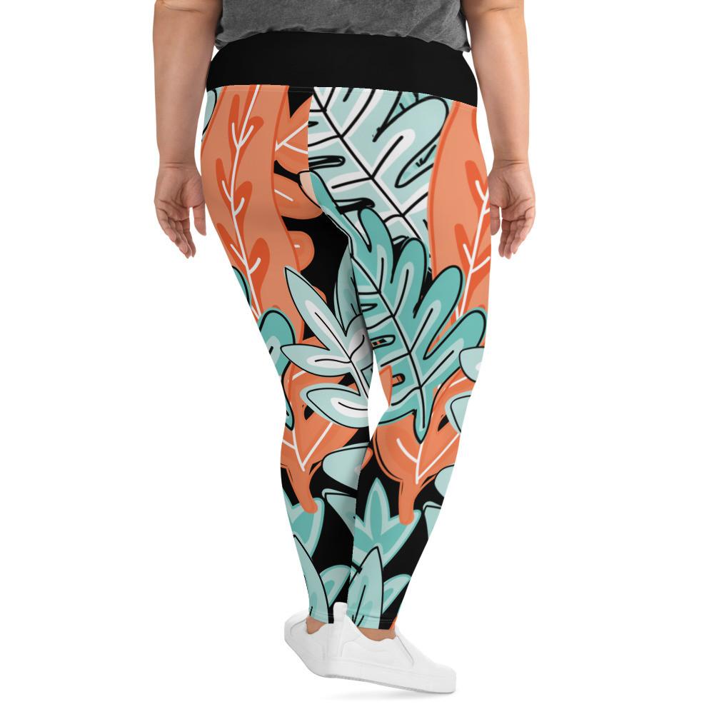 Dark Tropical Print Plus Size Leggings