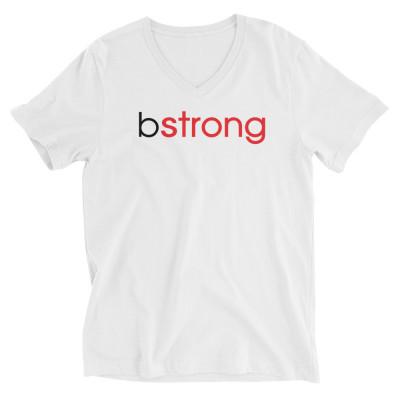 bstrong - Unisex Short Sleeve V-Neck T-Shirt White