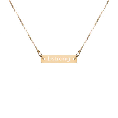bstrong Engraved Silver Bar Chain Necklace