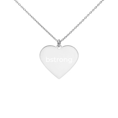 bstrong Engraved Silver Heart Necklace