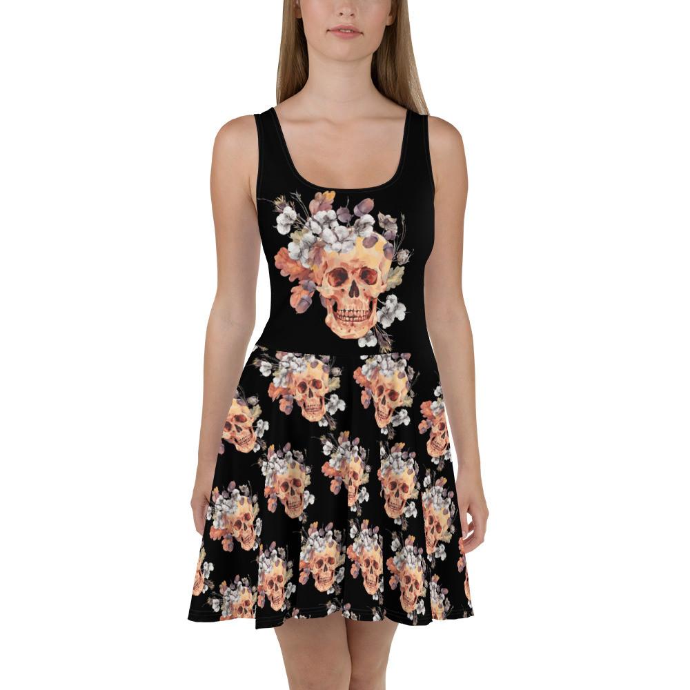 Hell Yeah Clothing™ Flower Skull Skater Dress