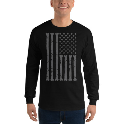 USA Flag - Skulls and Bones Men's Long Sleeve Shirt